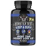 Monster Test Fat Burner PM Sleep Aid Diet Pills Night-Time Formula, Weight Loss Capsules for Men, Melatonin, Valerian Root, Herbal Supplement, Fat Burning, Appetite Suppressant (1-Bottle)