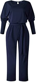 Women Long Sleeve Jumpsuit Elegant Wide Leg Overall with Belt Evening Party