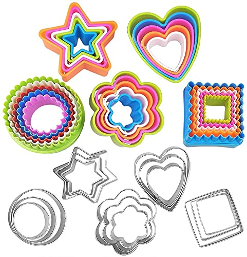 Basic Cookie Cutters Set Cake Cutter Cookie Cutter Set Round Biscuit Bread Fondant Cutters Biscuit Cutter Set Multi-size Sandwich Fondant Cake Fruit Vegetable Shapes Cutter Set of 40 Piece