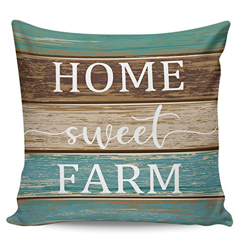 Winter Rangers Fundas decorativas de almohada - HOME SWEET FARM - Funda de cojín de felpa corta de grano de madera azul vintage para sofá cama, silla, ultra suave y transpirable, 40,6 x 40,6 cm