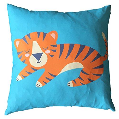 Puckator Housse imprimée et Coussin 50x50 cm CUSH99-design Dessin de Tigre, Orange/Jaune/Bleu