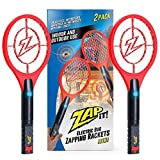 ZAP IT! Bug Zapper Twin-Pack Rechargeable Mosquito, Fly Killer and Bug Zapper Racket - 4,000 Volt - USB Charging, Super-Bright LED Light to Zap in The Dark - Safe to Touch