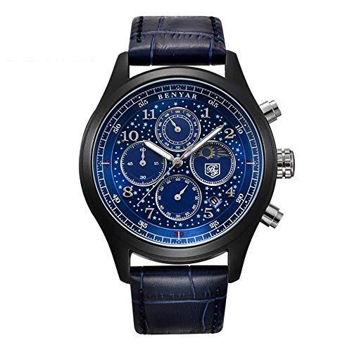 YIBOKANG Negocio para Hombres Casual Deportes Creative Star Meter Dial Dial 30M Reloj De Cuarzo Impermeable Reloj De Moda con Reloj De Regalo (Color : 4)