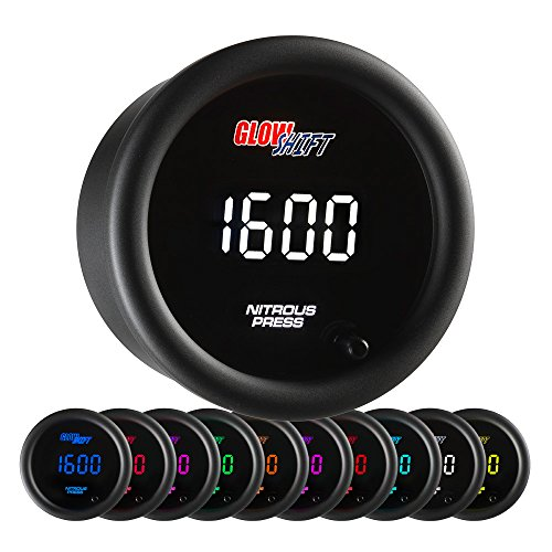 GlowShift 10 Color Digital 1,600 PSI Nitrous Pressure NOS Gauge Kit - Includes Electronic Sensor - Multi-Color LED Display - Tinted Lens - 2-1/16