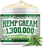 Hemp Cream - Pain Relief Cream - 1,300,000 - Natural Hemp Cream for Arthritis, Muscle Pain Relief - Made in USA - Hemp Oil Extract with MSM - 3.4OZ