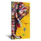 Kreative Arts Original Design Large Contemporary Abstract Colourful Elephant Painting on Canvas Print Wall Art Picture for Living Room Bedroom Wall Decor Gift Vertical 20x40inch