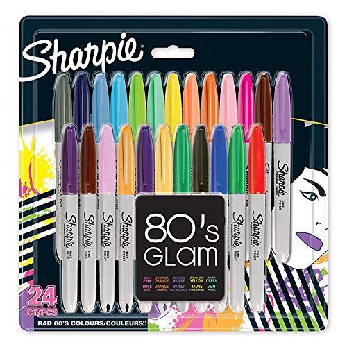 Sharpie Permanent Marker | Marker Stifte mit feiner Spitze | 80s Glam Farben | 24Stück Market Set