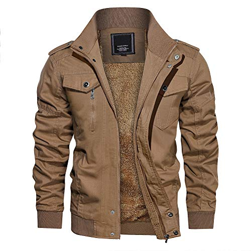CRYSULLY Men's Fall Winter Thicken Fashion Classic Outdoor Enclosure Coats Jacket Khaki