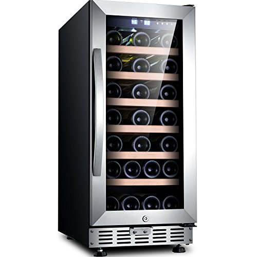 "Sinoartizan ST-33S 15"" Wide 33 Bottle Single Zone Red, White, Champagne Wine Cooler/Built-in or Freestanding Wine Refrigerator with Energy Efficient & Quiet Compressor"