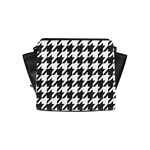 Black White Hounds Tooth Satchel Bag Crossbody Bags Travel Tote Bags Duffel Strap Shoulder Bags Luggage Organizer For Lady Girls Womens Work Shopping Outdoor