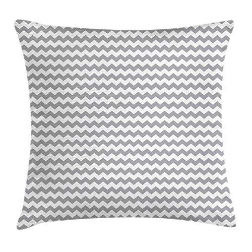 ABAKUHAUS grijze Chevron Sierkussensloop, Zig Zag Mozaïek van de Tegel, Decoratieve Vierkante Hoes voor Accent Kussen, 60 cm x 60 cm, White Pale Grey
