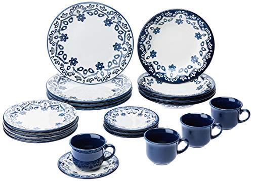 1 Aparelho de Jantar e Chá 20 Peças Oxford Daily Floreal Energy Branco/Azul
