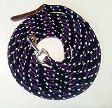 Bodenleine /Arbeitsseil schwarz-blackberry-natur 6,70 mtr - Baumwolle mit Karabiner und Lederklatsche