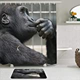 HATESAH Duschvorhang Badezimmermatten Set,Affen Denken,rutschfeste Badematte & wasserdichter Duschvorhang Badezimmer