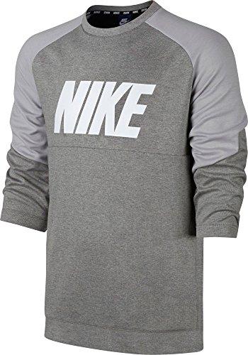 Nike Herren Sportswear Advance 15Long Sleeve Shirt, Herren, Dk Grey Heath/Blk/Wht, Medium
