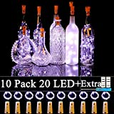 Forthcan 10 Pack Wine Bottle Lights with Cork-20 Led Battery Powered Copper Wire Fairy...