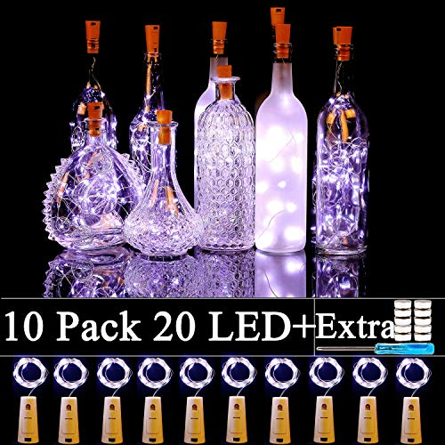Forthcan 10 Pack Wine Bottle Lights with Cork-20 Led Battery Powered Copper Wire Fairy String Lights for Garden, Patio...