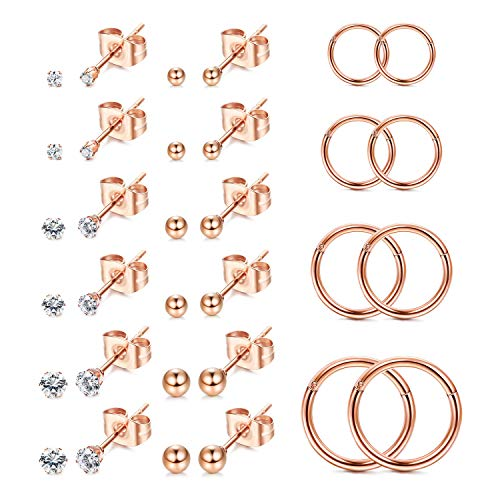 Finrezio 16 Pairs Tiny CZ Earrings for Men Women Stainless Steel Ball Stud Earrings Helix Conch Daith Cartilage Hoop Piercing Earrings Set Rose Gold