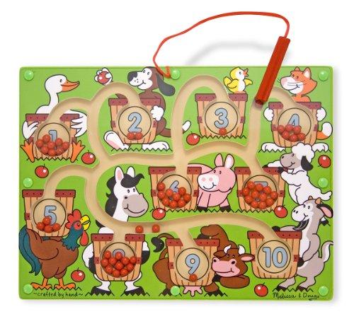Melissa & Doug Magnetic Wand Number Maze (Developmental Toys, Wooden Activity Cube, Develops Multiple Skills)