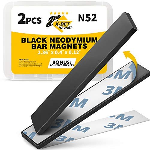 Super Strong Neodymium Bar Magnets with Adhesive Backing – Heavy Duty N52 Rare Earth Magnets with Epoxy Coating – Powerful N52 Neodymium Magnet 60 x 10 x 3mm
