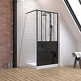 Pack de mampara de ducha 100 x 200 cm, color negro mate + plato alto para colocar 100 x 80 cm, color blanco efecto piedra