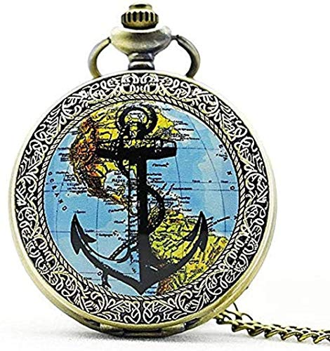 Collar Moda Plata Mapa de América y Anclas Reloj de bolsillo de cuarzo Collar con colgante analógico Relojes para mujer para hombre Regalo