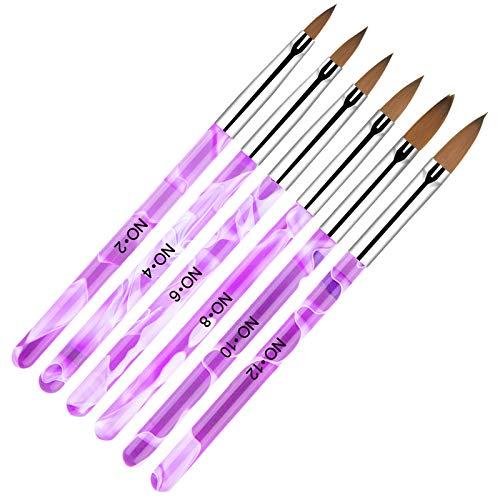 AvoDovA 6PCS Pinceles para Uñas, Set de Cepillo de Esmalte Uñas, Gel Nail Art Brush, Cepillo uñas pinceles para...