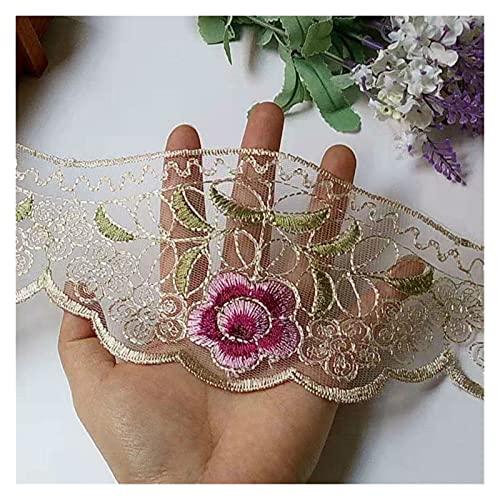 DIY encaje 2 yardas tira encaje Trim bordado rosa flor cinta para sofá adornos encaje tela 10 cm DIY