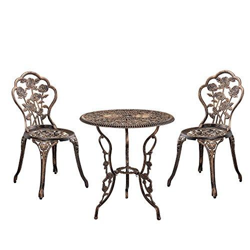 casa.pro Gartentisch/Bistro-Tisch 60cm, rund, Bronze mit 2 Stühlen - Französische Gartenmöbel im Antik-Look für Balkon/Terrasse - Bistro-Set wetterbeständig, Gusseisen-Metall als Gartendeko