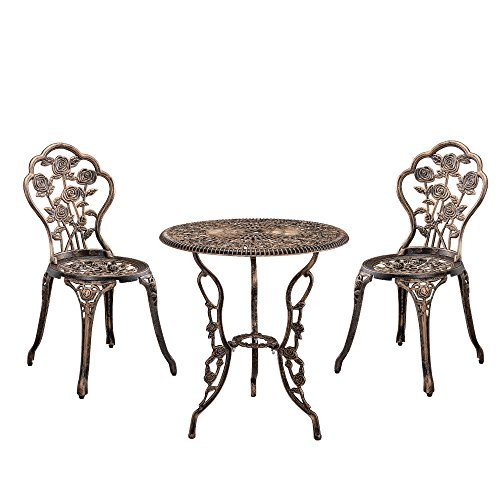 [casa.pro]® Gartentisch/Bistro-Tisch 60cm, rund, Bronze mit 2 Stühlen - Französische Gartenmöbel im Antik-Look für Balkon/Terrasse - Bistro-Set wetterbeständig, Gusseisen-Metall als Gartendeko