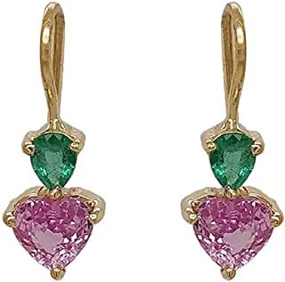 Gehna 18k (750) Yellow Gold, Sapphire and Emerald Drop Earrings for Women