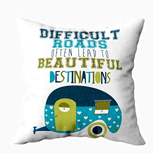 EMMTEEY Decorative Pillow Covers, 20x20 Pillow Covers Home Throw Pillow Covers for Sofa Truck Vehicle Driving Through Wildlife Landscape with National Travel Journey Square Double Sided Printing