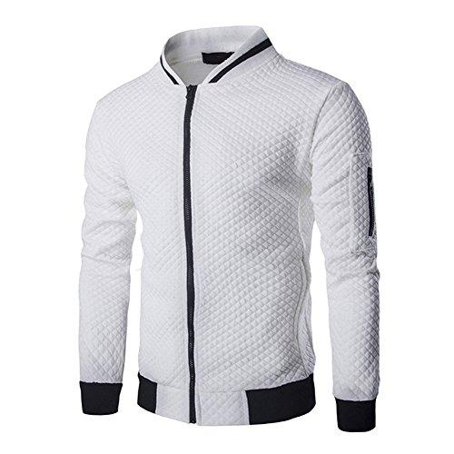 Veravant Sweat-Shirt Homme Manches Longues Pull Uni Zippé Bomber Blouson Veste Sport - Blanc - Small