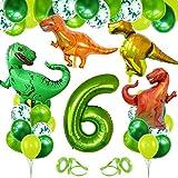 Decoracion Cumpleaños Dinosaurios, Globo Numero 6 Verde, Globos Dinosaurios, Globos de Cumpleaños 6 Años, Globos Grandes Gigantes Helio, Globos para Fiestas de Cumpleaños
