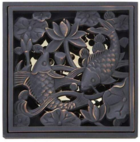 ChongYang dubbele gouden vis afvoer badkamer wastafel olie gewreven zwart brons bloem gesneden afvoer douche afval afvoer vloer afvoer