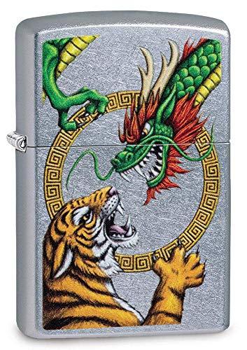 Zippo Briquet Coupe-Vent en métal Durable avec Liquide Zippo Rechargeable Idéal pour Cigarettes, cigares, Bougies, Mixte Adulte, Dragon Tigre chromé., Normal