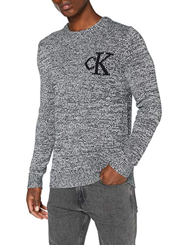 Calvin Klein Twisted Yarn Logo Sweater Maglione, CK Black, S Uomo
