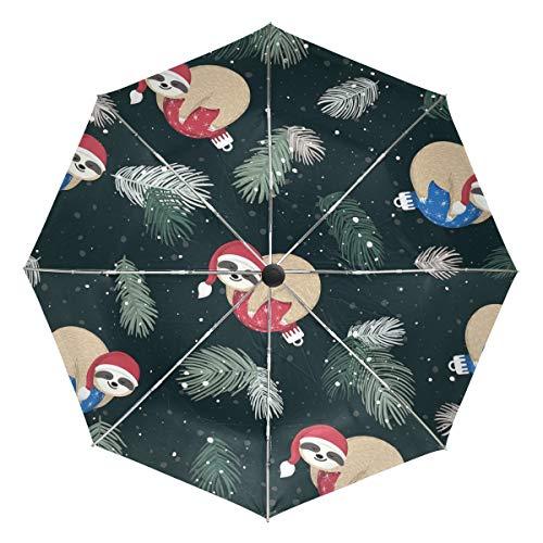 Paraguas de viaje compacto con diseño de perezoso con gorro de Navidad, para el aire libre, para la lluvia, el sol, el coche, paraguas reversible para el viento, toldo reforzado, protección UV, mango ergonómico, apertura y cierre automático