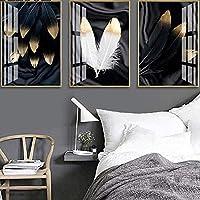 キャンバスポスターブラックホワイトゴールデンフェザーウォールポスター北欧抽象絵画スカンジナビアのリビングルームの装飾Picture3個60x80cmフレームなし
