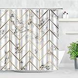 Cortina de Ducha con patrón geométrico, mármol Blanco, Estilo de Rayas Doradas, baño en casa, Cortina de Ducha Impermeable S.1 180x180cm
