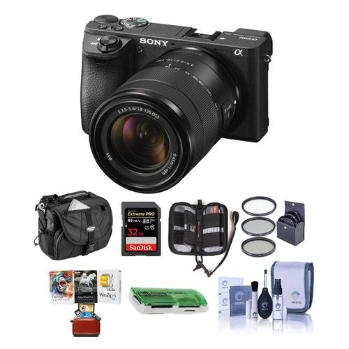 Sony Alpha A6500 Mirrorless Camera with 18-135mm f/3.5-5.6 OSS Lens - Bundle with 32GB SDHC U3 Card, Camera Case, 55mm Filter Kit, Cleaning KIt, Memory Wallet, Card Reader, Mac Software Package