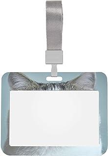 Porte-badges nominatifs Chat drôle au rendez-vous avec un ophtalmologiste Protecteur de porte-cartes 4x3 louchant avec lan...