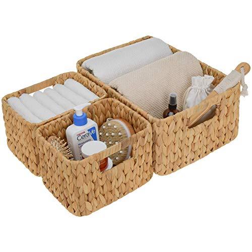 StorageWorks Hand-Woven Storage Baskets, Water Hyacinth Wicker Baskets for Organizing, Set of 3 (1PC Large, 2PCS Medium)