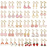 SOTOGO 30 Pairs Clip On Earrings Unicorn Flower Butterfly Earrings for Little Girls and Women
