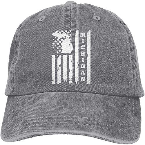 GYYbling Baseball Hat Michigan State American Flag Vintage Adjustable Denim Hat Baseball Caps for Man And Woman Gray