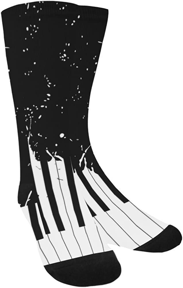 Unique Debora Custom Hosiery Knee-High Socks Leg Warmers for Unisex with Piano Keyboard On Black Background