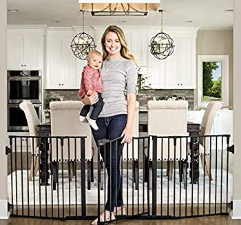 Regalo Deluxe Home Accents 74-Inch Widespan Safety Gate Includes 4 Pack of Wall Mounts  Black