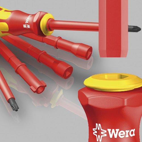 Wera 05003471008 Kraftform Kompakt VDE 60i/62i/65i/18 Slotted/Phillips/Pozidriv/PlusMinus Insulated Screwdriver Set, Interchangeable Blades, With Pouch, 18-Piece
