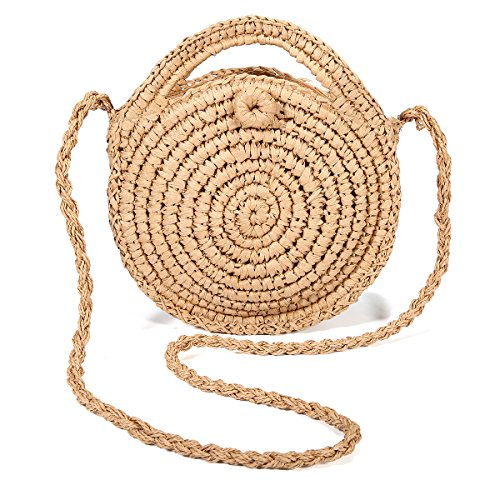 JOSEKO Bolso tejido de paja, bolso de hombro de verano, bolso de hombro tejido de paja para mujer para viajes diarios a la playa (marrón claro#1)