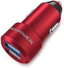 RAVPower Caricabatterie Auto Extra-Mini Alluminio 2 Porte, 24W / 4.8A, Caricatore USB Universale con Tecnologia iSmart (Rosso)